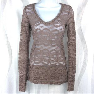 BKE Boutique Lace Top XS Long Sleeve Sheer Stretch